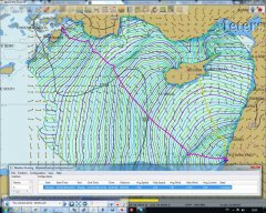 Grib wind data is shown with overlay of Weather Route simulation using weather and yacht models