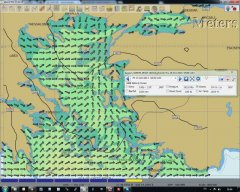Visualization of waves in Aegean using WAM. Overlay shows wave height. Arrows show direction